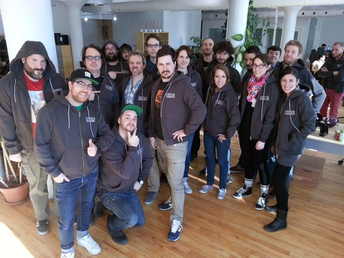 The team at Turbulent with their new hoodies!